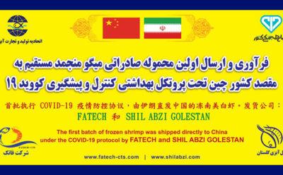 ترخیص نخستین محموله میگوی ارسالی به چین با اخذ گواهی کووید 19 از گمرک بندر Ningbo